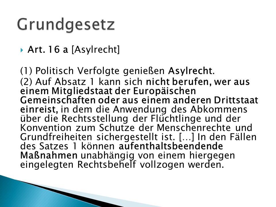 Grundgesetz Art. 16 a [Asylrecht]